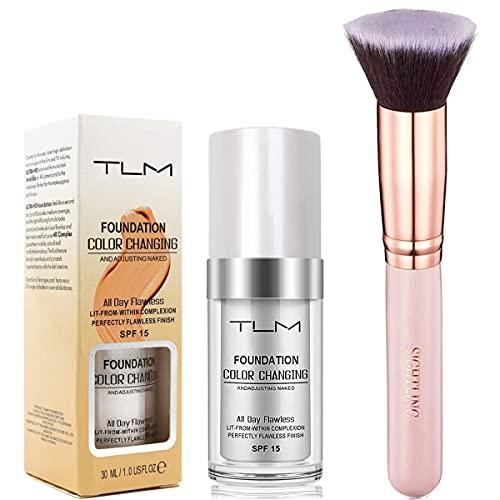 Foundation Color Changing Make Up Corrector 30ml & SIGHTLING Brocha de Maquillaje Kabuki Cepillo de Maquillaje