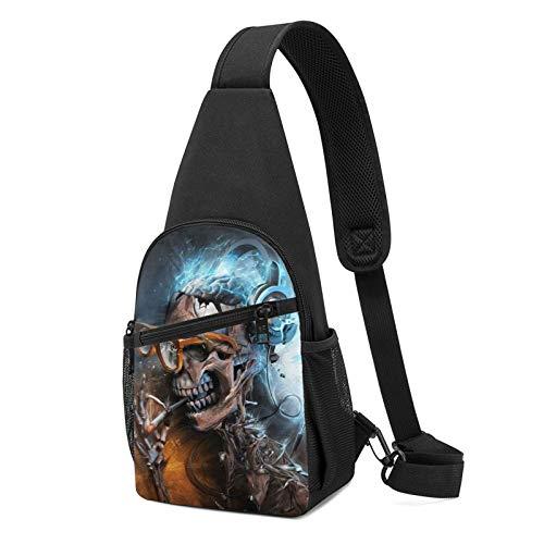 Sling Bag für Herren Anti-Diebstahl Schulterrucksack Leichte Crossbody Outdoor & Gym, Pink - Totenkopf mit Brille Musik rauchen schwarz - Größe: Einheitsgröße