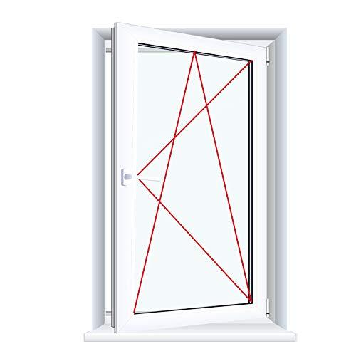Drutex Kunststofffenster weiß Dreh Kipp Anschlag:DIN Rechts, BxH:700x700, Glas:3-Fach