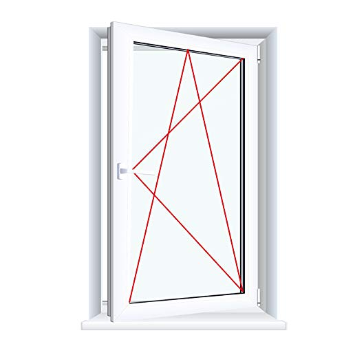 Kunststofffenster Badfenster Ornament Delta Weiss Dreh/Kipp, Anschlag:DIN Rechts, Glas:2-Fach, BxH:500x900