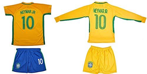 ATB Brasilien #10 Neymar Euro 16 Heim Kinder Trikot und Hose und Langen Socken mit Langen oder kurzen Ärmeln (Langarm, 140)