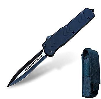Couteau Pliant de Poche Couteau de Survie Couteau De Chasse Sauvetage - 440C Steel 58HRC - Couteaux Pliants de Poche pour Hommes Défense Aventure Randonnée Couteau Étui en Cuir (THK-9262)