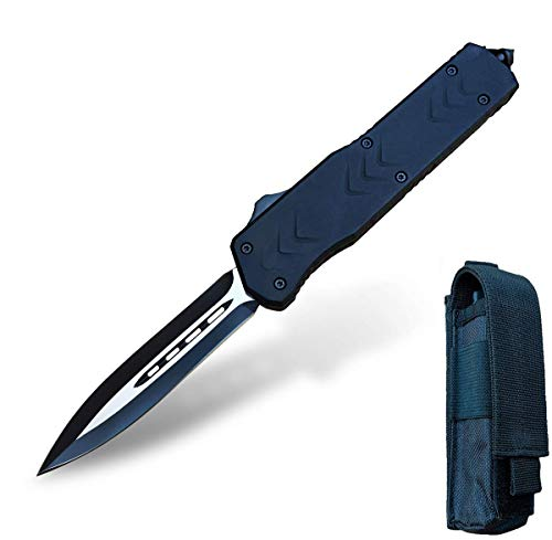 Cuchillo Plegable Navaja de Bolsillo Cuchillo Supervive - 440C Steel 58 HRC OTF Doble Acción - Para Seguridad Defensa Aventura Senderismo Pesca Caza con Clip Vidrio Bolsa (THK-9262)