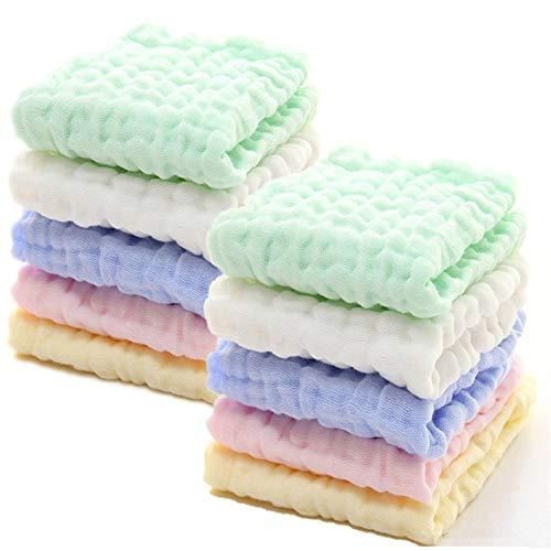LANGING Katoen Baby Wipes Zachte Baby Gezicht Handdoek voor Gevoelige 10 Pack 12x12 inch