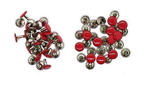 Trimming Shop 100 X 10mm Zwei Stücke Doppel Kappe Tubular Nieten für Leder Handarbeiten - Deko für Handtaschen, Jeans, Riemen, Hundehalsband - Robust Verschluss für Nähen und Bekleidung Reparatur