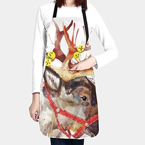 Yunshm Reindeer Christmas Flower Bell Waterproof Kitchen Aprons Cooking Bib Apron with Pockets Adjustable for Men Women for Baking BBQ Customized