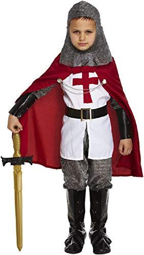 7 teilig für Jungen, St Georges Day Ritter Mittelalter Dragon Slayer Book-Tage-Woche Kostüm Outfit bis 12 Jahre