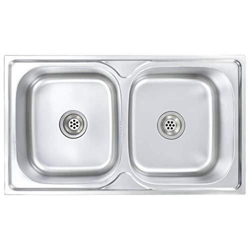 vidaXL Küchenspüle Doppelbecken mit Sieb Siphon Spülbecken Doppelspüle Edelstahlspüle Einbauspüle Spüle Edelstahl 84x48x20cm Silbern