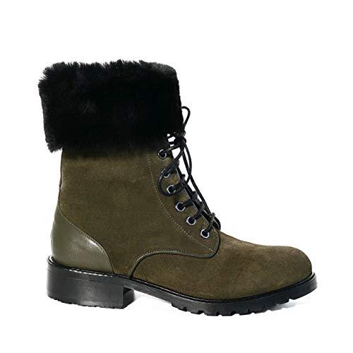 KUZEY SHOES Damskie buty – botki damskie – botki damskie – buty zimowe damskie – botki – damskie – skórzane buty damskie, khaki - khaki - 37 eu