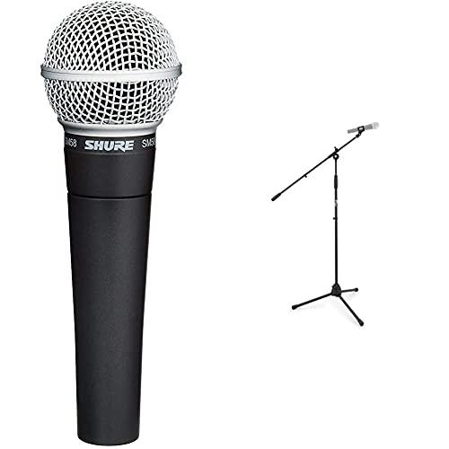 Shure Sm58 Micrófono Vocal + Tiger Mca68-Bk Soporte para Micrófono con Brazo, Soporte para Micrófono con Clip De…
