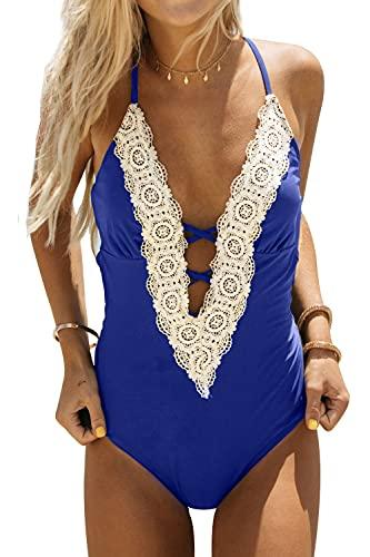 JENJON Femme Maillot de Bain Une-pièce à Dentelle Floral Push Up Élégante Monokini Vintage Col V Taille Haute Swimwear Bleus