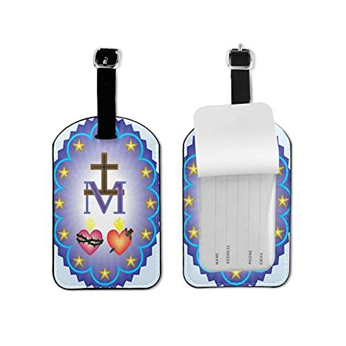 Tvuirw Medalla milagrosa de nuestra señora etiqueta de equipaje de microfibra pu cuero sintético etiqueta de equipaje unisex universal Viajar usando lindo pequeño equipaje etiqueta