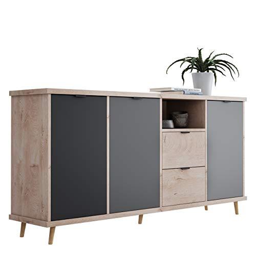 Newfurn Kommode Grau Eiche Hirnholz Sideboard Modern Vintage - 180x88x40 cm (BxHxT) - Highboard Anrichte - [Conni.Four] Wohnzimmer Schlafzimmer Flur Esszimmer