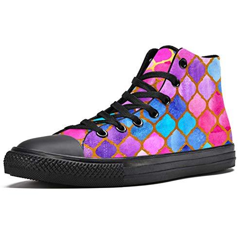 BENNIGIRY Mosaik Aquarell Muster geometrisch Abstrakt Fliesen Arabische Sportschuhe hohe Schuhe aus Segeltuch für Damen, mehrfarbig - mehrfarbig - Größe: 37 EU
