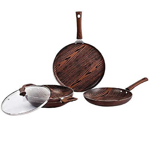 Cello Aluminum Induction Base Non-Stick Cookware Set, Brown, Woody