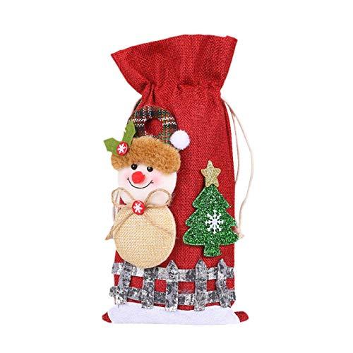 xianhuabing Lino Nieve Dibujos Animados Cordón Botella de Vino Cubierta de Tela Escocesa Muñeca Bolsa de Botella de Vino para Decoraciones navideñas