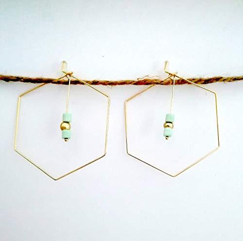 Pendientes de aro forma hexágono con piedras turquesas y dorada - 50...