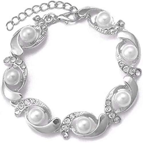 gujiu Pulseras de Encanto Pulsera de Tenis Pulsera de Boda Faux Pearl Link Bracelet (Color : Silver)