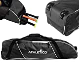 Athletico Rolling Baseball Bag - Wheeled Baseball Bat Bag for Baseball, TBall, Softball Equipment for Youth,...