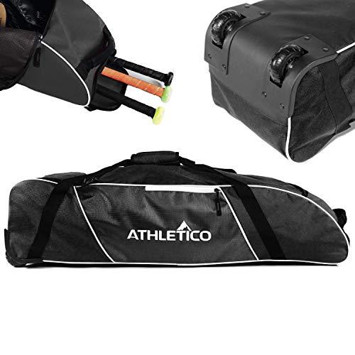 Athletico Rolling Baseball Bag – Wheeled Baseball Bat Bag for Baseball, TBall, & Softball Equipment for Youth, Kids, and Adults (Black)