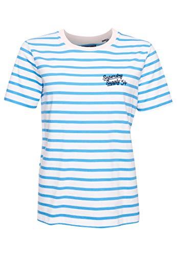 Superdry Damen Dakota Graphic Tee T-Shirt, Blau (Aqua Stripe BYZ), XS