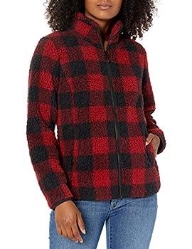 Amazon Essentials Women s Polar Fleece Lined Sherpa Full-Zip Jacket Red Buffalo Plaid Medium