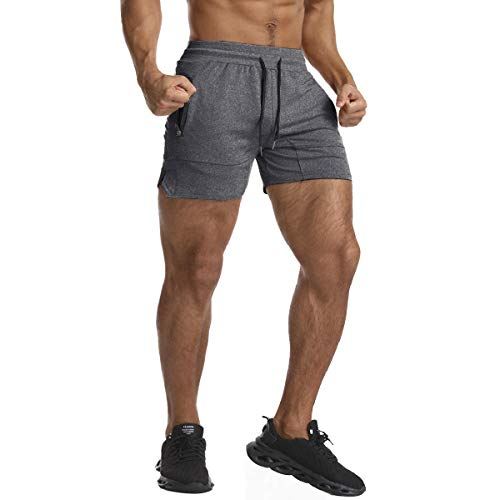 EVERWORTH Men's Solid Gym Workout Shorts Bodybuilding Running Fitted Training Jogging Short Pants with Zipper Pocket Grey M