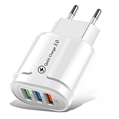 Qewrt Cargador USB Carga rápida 3.0 18W Cargador portátil de Viaje para teléfono móvil de Pared para teléfono Celular Tablet PC Notebook