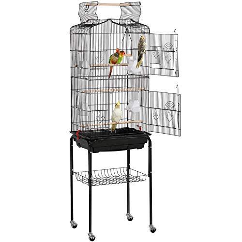 Yaheetech Gabbia Voliera per Uccelli Pappagalli Inseparabili Calopsite Parrochetti in Metallo Nera con Piedistallo Ruote e Tetto Apribile 46 x 35,3 x 150,6 cm