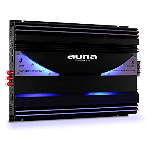 Auna AMP-CH - Amplificador para Coche, Sonido HiFi, Entradas RCA,...