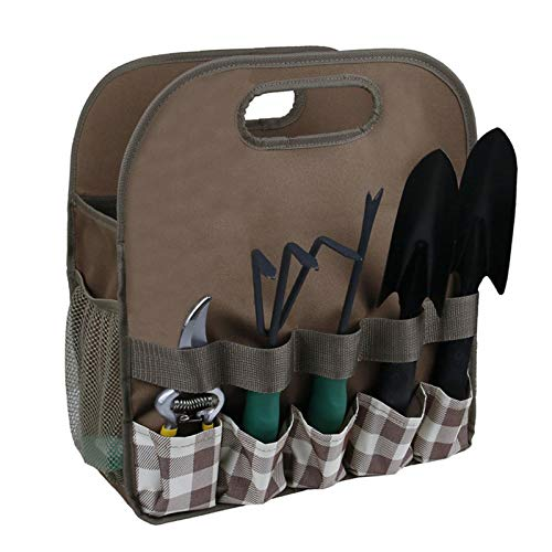 Garden Tool Bag, Multi-purpose Organizer Diaper Oxford Bag, Heavy Duty Garden Tool Holder Tote Bag for Indoor Outdoor (Brown)