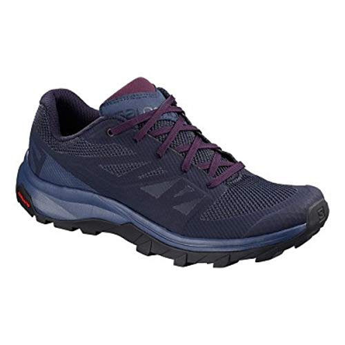 Salomon Women's Outline Hiking Shoes, Evening Blue/Crown Blue/Potent Purple, 8.5