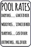 Pool Rates 12' X 8' Funny Beer Humor Aluminum Sign Indoor Outdoor Pool Locker Room Clubhouse Tiki Bar Decor