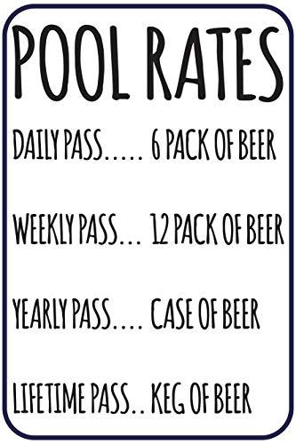 "Toothsome Studios Pool Rates 12"" X 8"" Funny Beer Humor Aluminum Sign Indoor Outdoor Pool Locker Room Clubhouse Tiki Bar Decor"