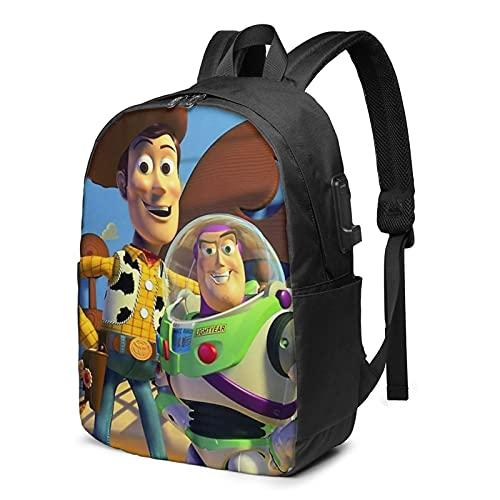 Toy Story Mochila de dibujos animados de viaje de negocios con cable de carga USB, interfaz de auriculares de gran capacidad para portátiles de 13 a 17 pulgadas