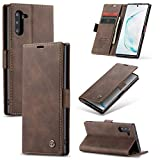 Compatible with Samsung Galaxy Note 10 Wallet Case Cover, Magnetic Stand View Premium Cowhide Leather Flip Cover Retro Purse Book Style with ID & Credit Card Slots Pockets for Samsung Galaxy Note 10