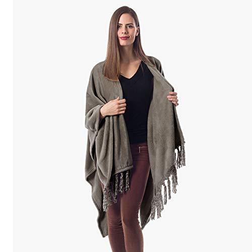 ShopBedding Gift for Mom Fleece Wearable Throw Poncho - Throw Blanket Fringed Wrap - Fleece Cape - Cozicoon (Grey)