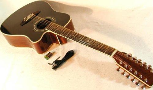 Cherrystone 4260180886153 12 saitige Western-Gitarre mit Tonabnehmer/EQ schwarz
