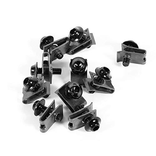 Tuerca de clip de sujeción, 10 piezas M5 de aluminio Kit de pernos de carrocería de carenado de motocicleta Tornillo Tuerca de clip de sujeción de velocidad de aguja(Negro)