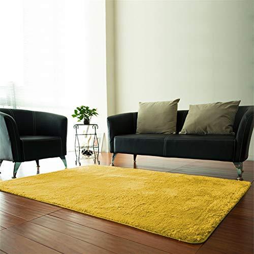 Insun Alfombra Shaggy de 2cm Pelo Largo Rectángulo Alfombra de Monocromática Antideslizante Lavable para Sala de Estar y Dormitorio Amarillo 100x140cm