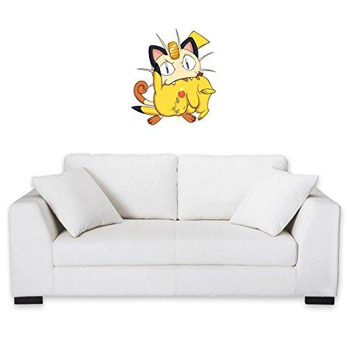 Okiwoki Sticker Mural Pokémon parodique Pikachu et Miaouss : Le Jeu du Chat et la Souris : (Parodie Pokémon)