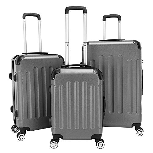HUIRUI Multifunctional Hardshell Luggage Spinner Large Capacity Traveling Storage Suitcase - 3 Piece Set Portable ABS Trolley Case 20' / 24' / 28',Gray