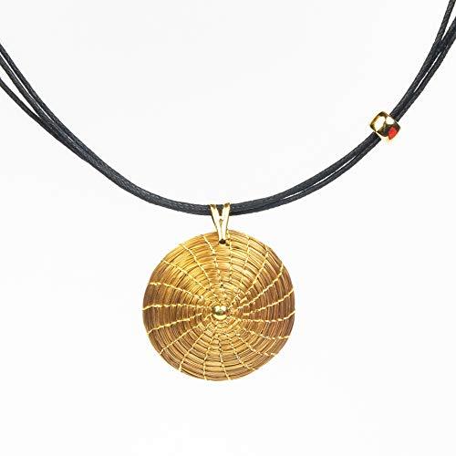 Collar en Oro Vegetal Redondo 3 cm con punto dorado