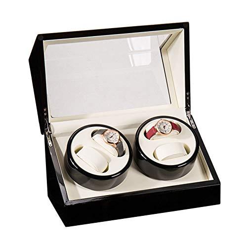 LJP Cajas Giratorias para Relojes 4 Relojes Automático Watch Winders Box con Cuero Almohadas Tranquilo Rotación Motor 100% Hecho A Mano
