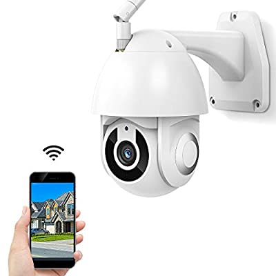 2020 Upgrade Outdoor Security Camera, 1080P WiFi Home Home Surveillance with Pan/Tilt Tilt 360° View, WiFi, Night Vision, Motion Detection, Waterproof, with iOS/Android, Service Works with Alexa