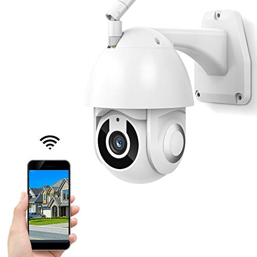 Security Camera Outdoor, 2020 Upgrade 1080P WiFi Home Home Surveillance with Pan/Tilt Tilt 360° View, WiFi, Night Vision, Motion Detection, Waterproof, with iOS/Android, Service Works with Alexa