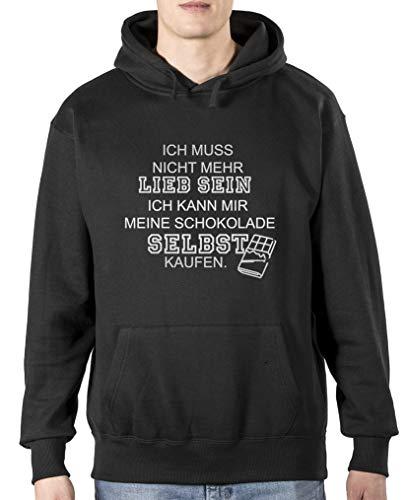 Comedy Shirts – Je n'ai plus à aimer – Sweat à capuche pour homme – capuche, sac kangourou à manches longues, pulli imprimé. - Noir - S