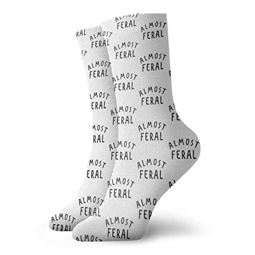 Almost Feral Calcetines clásicos de ocio y deporte cortos calcetines 30 cm/11.8 pulgadas adecuados para hombres y mujeres