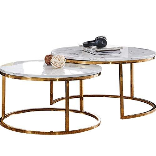 N/Z Living Equipment Parlor Juego de Mesa de Centro Base de Acero Inoxidable Textura de mármol Tablero de Mesa Bordes Lisos Estilo Simple Fácil de Combinar Oro Redondo