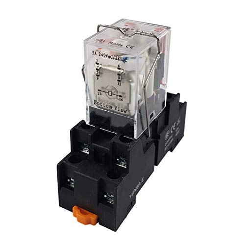 APIELE 110V AC 8 Pins 5A Coil Electromagnetic Power Relay Coil 2PDT 2NO+2NC MY2NJ HH52P with Indicator Light With Base (110V AC)
